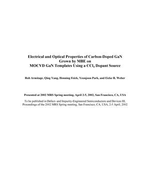 Primary view of object titled 'Electrical and optical properties of carbon-doped GaN grown by MBE on MOCVD GaN templates using a CCl4 dopant source'.
