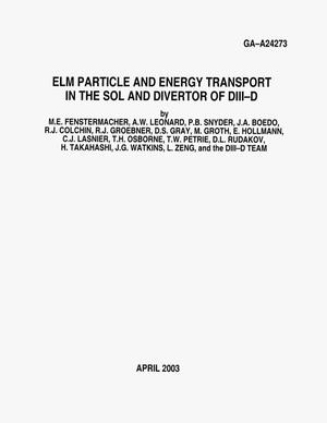 Primary view of object titled 'ELM PARTICLE AND ENERGY TRANSPORT IN THE SOL AND DIVERTOR OF DIII-D'.