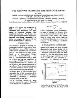 Primary view of object titled 'Very high Power THz radiation from Relativistic Electrons'.