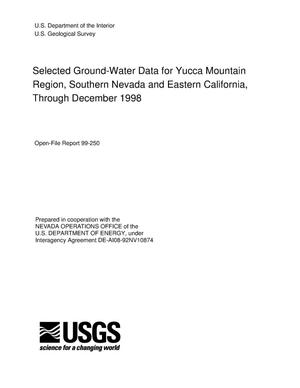 Primary view of object titled 'Selected ground-water data for Yucca Mountain region, Southern Nevada and Eastern California, through December 1998'.