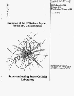 Primary view of object titled 'Evolution of the rf systems layout for the SSC collider rings'.