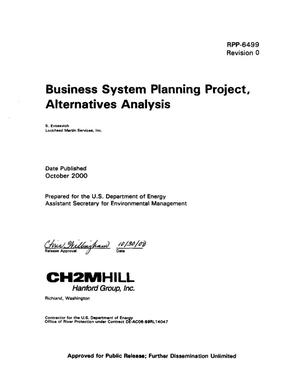 Primary view of object titled 'Business System Planning Project, Alternatives Analysis'.
