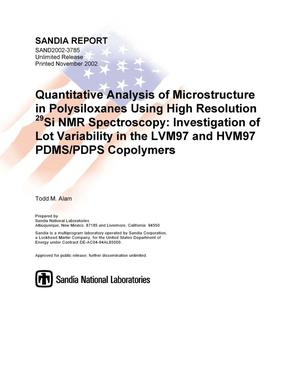 Primary view of object titled 'Quantitative Analysis of Microstructure in Polysiloxanes Using High Resolution Si29 NMR Spectroscopy: Investigation of Lot Variability in the LVM97 and HVM97 PDMS/PDPS Copolymers'.