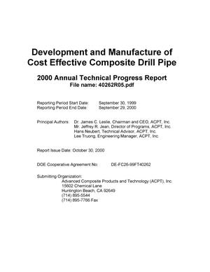 Primary view of object titled 'DEVELOPMENT AND MANUFACTURE OF COST EFFECTIVE COMPOSITE DRILL PIPE'.