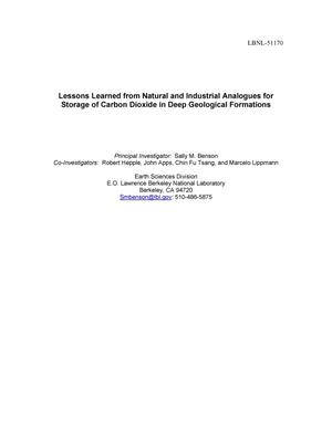 Primary view of object titled 'Lessons Learned from Natural and Industrial Analogues for Storage of Carbon Dioxide in Deep Geological Formations'.