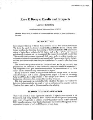 Primary view of object titled 'RARE K DECAYS: RESULTS AND PROSPECTS.'.