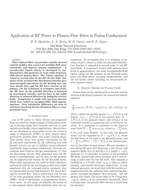 Primary view of object titled 'Application of RF Power to Plasma Flow Drive in Fusion Confinement'.