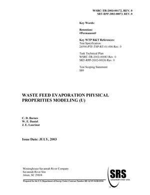 Primary view of object titled 'Waste Feed Evaporation Physical Properties Modeling'.