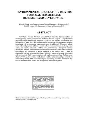 Primary view of object titled 'Environmental regulatory drivers for coal bed methane research and development.'.