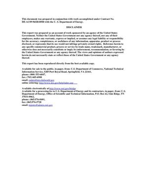 Primary view of object titled 'Chemical Treatment of US Department of Energy High Level and Low Level Waste to Obtain a Pure Radiochemical Fraction for Determination of Californium Alpha-Decay Content'.