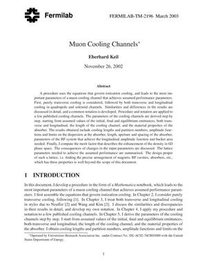 Primary view of object titled 'Muon cooling channels'.