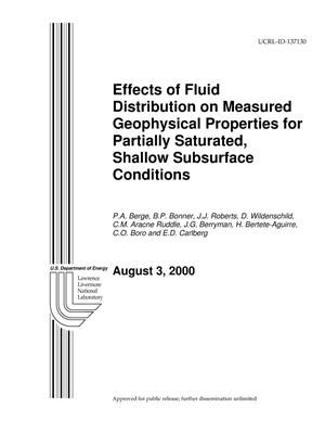 Primary view of object titled 'FY 2000 Annual Report for EMSP Project No.70108 - Effects of Fluid Distribution on Measured Geophysical Properties for Partially Saturated, Shallow Subsurface Conditions'.