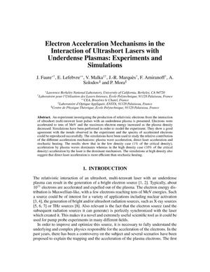 Primary view of object titled 'Electron acceleration mechanisms in the interaction of ultrashort lasers with underdense plasmas: Experiments and simulations'.