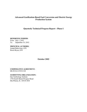 Primary view of object titled 'ADVANCED GASIFICATION-BASED FUEL CONVERSION AND ELECTRIC ENERGY PRODUCTION SYSTEM'.