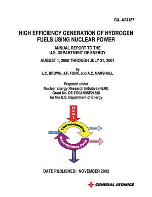 Primary view of object titled 'High Efficiency Generation of Hydrogen Fuels using Nuclear Power Annual Report August, 2000 - July 2001'.