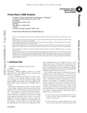 Primary view of object titled 'Virtual data in CMS analysis'.