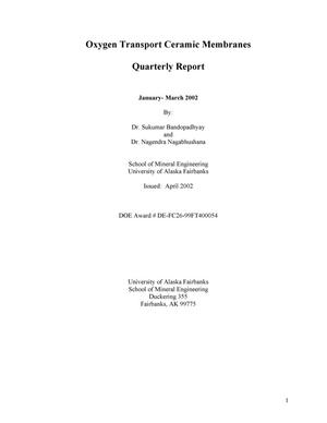 Primary view of object titled 'Oxygen Transport Ceramic Membranes Quarterly Report'.