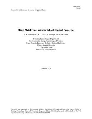 Primary view of object titled 'Mixed metal films with switchable optical properties'.