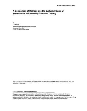 Primary view of object titled 'A Comparison of Methods Used to Evaluate Intakes of Transuranics Influenced by Chelation Therapy'.