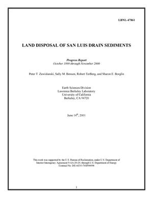 Primary view of object titled 'Land disposal of San Luis drain sediments: Progress Report October 1998 through November 2000'.