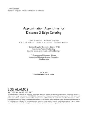 Primary view of object titled 'APPROXIMATION ALGORITHMS FOR DISTANCE-2 EDGE COLORING.'.