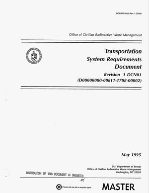 Primary view of object titled 'Transportation system requirements document. Revision 1 DCN01. Supplement'.