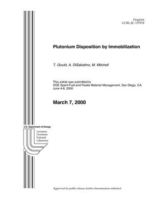 Primary view of object titled 'Plutonium Disposition by Immobilization'.