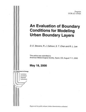 Primary view of object titled 'An Evaluation of Boundary Conditions for Modeling Urban Boundary Layers'.
