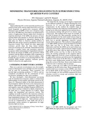 Primary view of object titled 'Minimizing transverse-field effects in superconducting quarter-wave cavities.'.