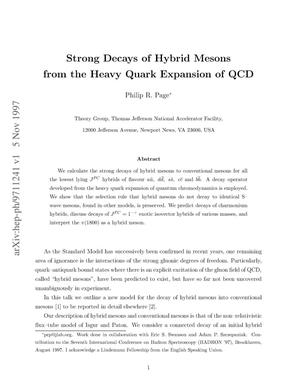 Primary view of object titled 'Strong Decays of Hybrid Mesons from the Heavy Quark Expansion of QCD'.