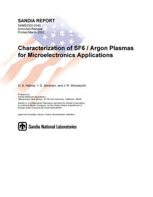 Primary view of object titled 'Characterization of SF6/Argon Plasmas for Microelectronics Applications'.