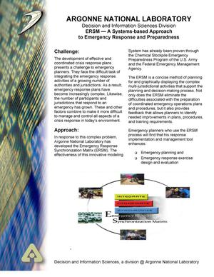 Primary view of object titled 'ERSM - A systems-based approach to emergency response and preparedness.'.