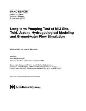 Primary view of object titled 'Long-Term Pumping Test at MIU Site, Toki, Japan: Hydrogeological Modeling and Groundwater Flow Simulation'.
