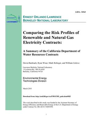 Primary view of object titled 'Comparing the risk profiles of renewable and natural gas electricity contracts: A summary of the California Department of Water Resources contracts'.
