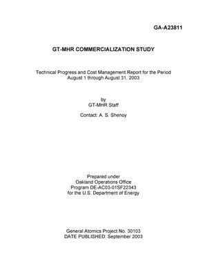 Primary view of object titled 'GT-MHR COMMERCIALIZATION STUDY TECHNICAL PROGRESS AND COST MANAGEMENT REPORT FOR THE PERIOD AUGUST 1 THROUGH AUGUST 31, 2003'.