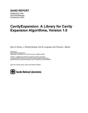 Primary view of object titled 'Cavity Expansion: A Library for Cavity Expansion Algorithms, Version 1.0'.