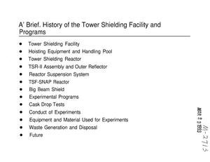 Primary view of object titled 'A Brief History of the Tower Shielding Facility and Programs'.