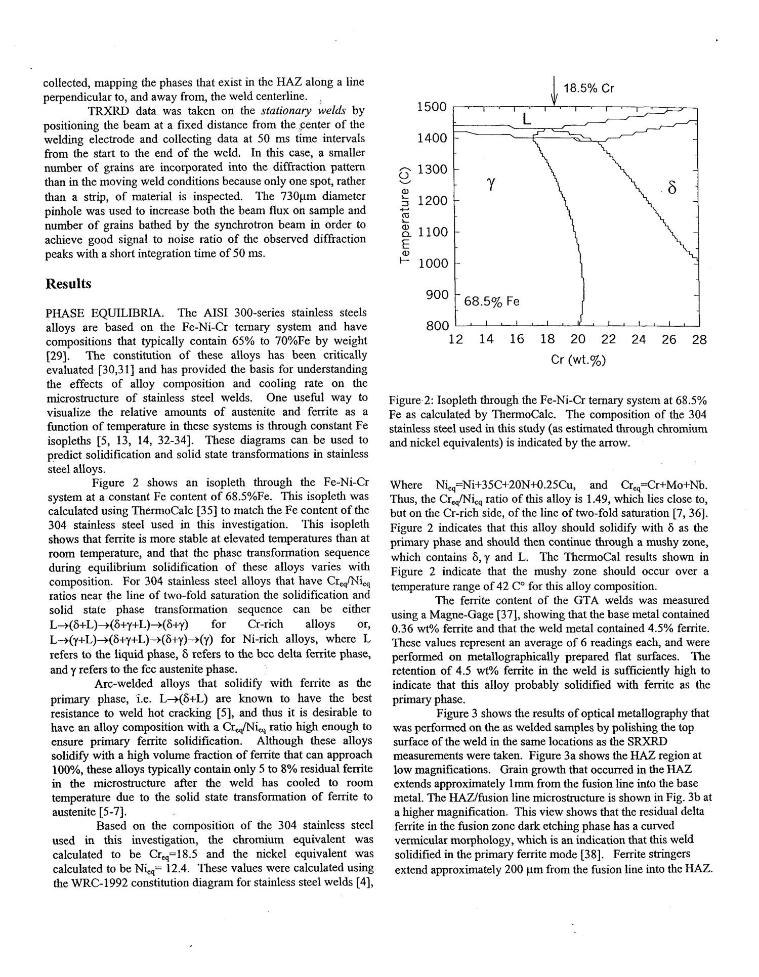 Direct Observation of Phase Transformations in Austenitic Stainless Steel Welds Using In-situ Spatially Resolved and Time-resolved X-ray Diffraction - Page 5 of 11 - UNT Digital Library Direct Observation of Phase Transformations in Austenitic Stainless Steel Welds Using In-situ Spatially Resolved and Time-resolved X-ray Diffraction - 웹
