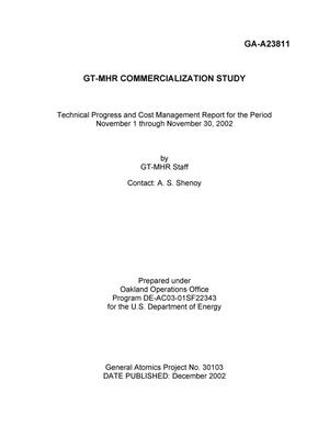 Primary view of object titled 'GT-MHR COMMERCIALZATION STUDY TECHNICAL PROGRESS AND COST MANAGEMENT REPORT FOR THE PERIOD NOVEMEBER 01-30, 2002'.