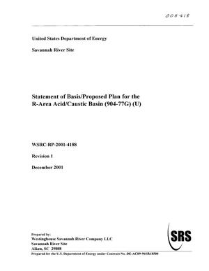 Primary view of object titled 'Statement of Basis/Proposed Plan for the R-Area Acid/Caustic Basin (904-77G)'.
