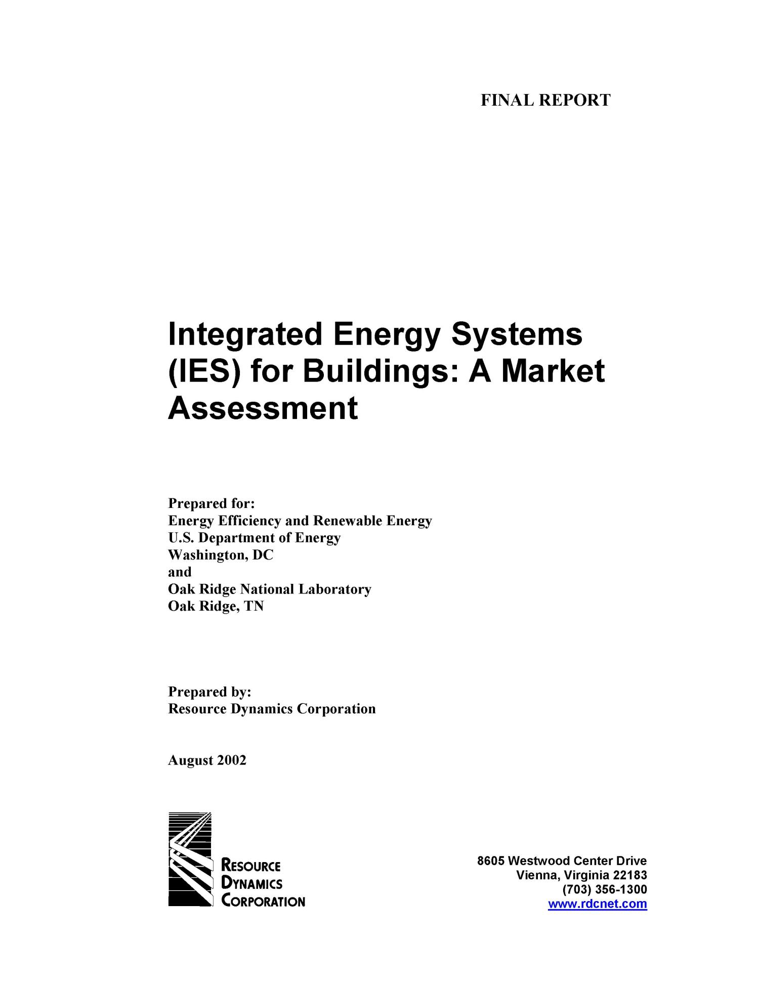 Integrated Energy Systems (IES) for Buildings: A Market Assessment                                                                                                      [Sequence #]: 1 of 75