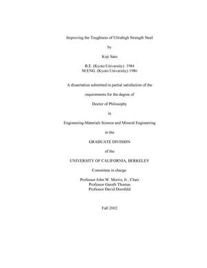Primary view of object titled 'Improving the toughness of ultrahigh strength steel'.