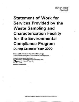 Primary view of object titled 'SOW for Services Provided by the Waste Sampling Characterization Facility (WSCF) for the Environmental Compliance Program during CY 2000'.
