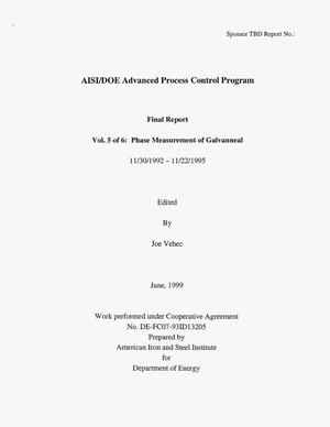 Primary view of object titled 'AISI/DOE Advanced Process Control Program Vol. 5 of 6: Phase Measurement of Galvanneal'.