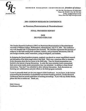 Primary view of object titled '2001 Gordon Research Conference on Photoions, Photoionization and Photodetachment. Final progress report [agenda and attendees list]'.