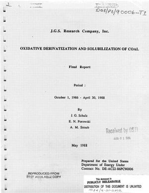 Primary view of object titled 'Oxidative derivatization and solubilization of coal. Final report. Period: October 1, 1986 - April 30, 1988'.