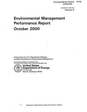 Primary view of object titled 'Environmental Management Performance Report October 2000'.