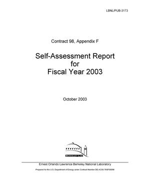Primary view of object titled 'Contract 98, Appendix F self-assessment report for Fiscal Year 2003'.