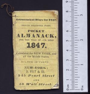 Primary view of object titled 'Pocket almanack, for the year of our Lord 1847'.