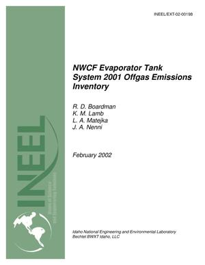 Primary view of object titled 'NWCF Evaporator Tank System 2001 Offgas Emissions Inventory'.